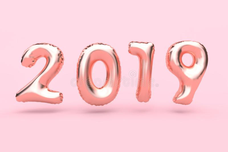 3d rendering 2018 pink-rose gold abstract balloon type-number floating pink background new year holiday concept vector illustration