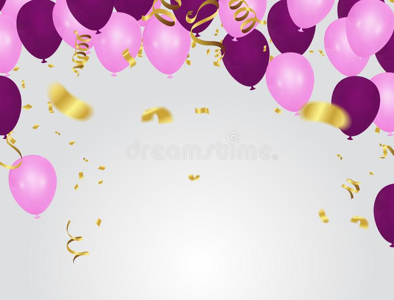 Pink Rose Gold Balloons and purple Balloons Background with Various Colors. Birthday Party, Congratulations & Win Design stock illustration