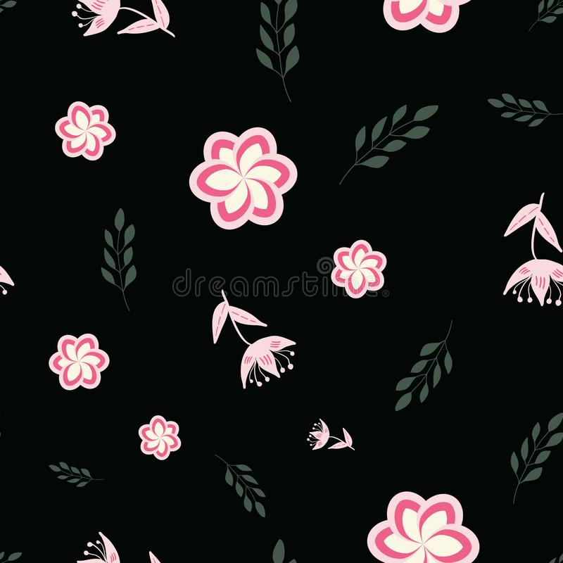 Pink, rose and green stylized flowers and leaves on black background seamless repeat. royalty free illustration