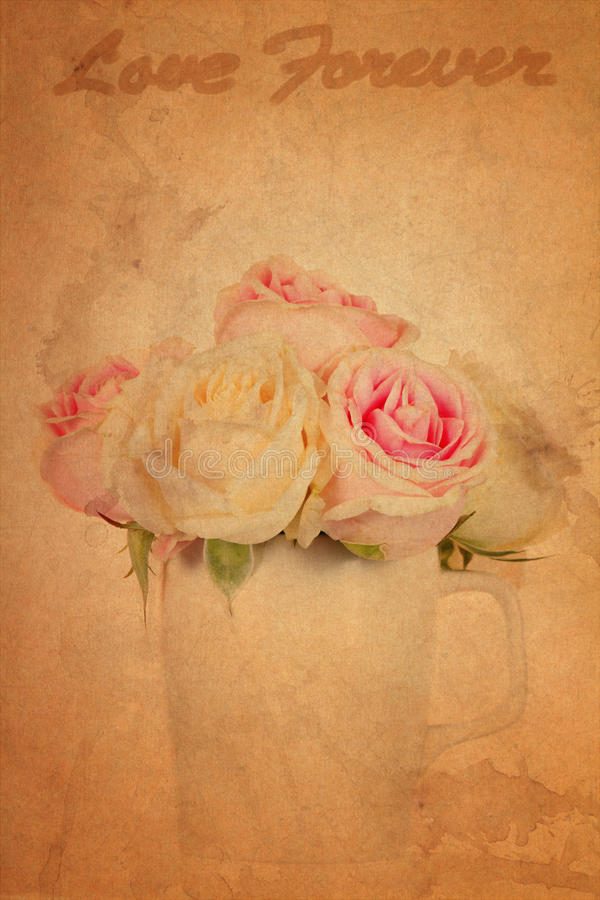 Pink rose grunge paper background. Old brown pink rose grunge paper background vector illustration