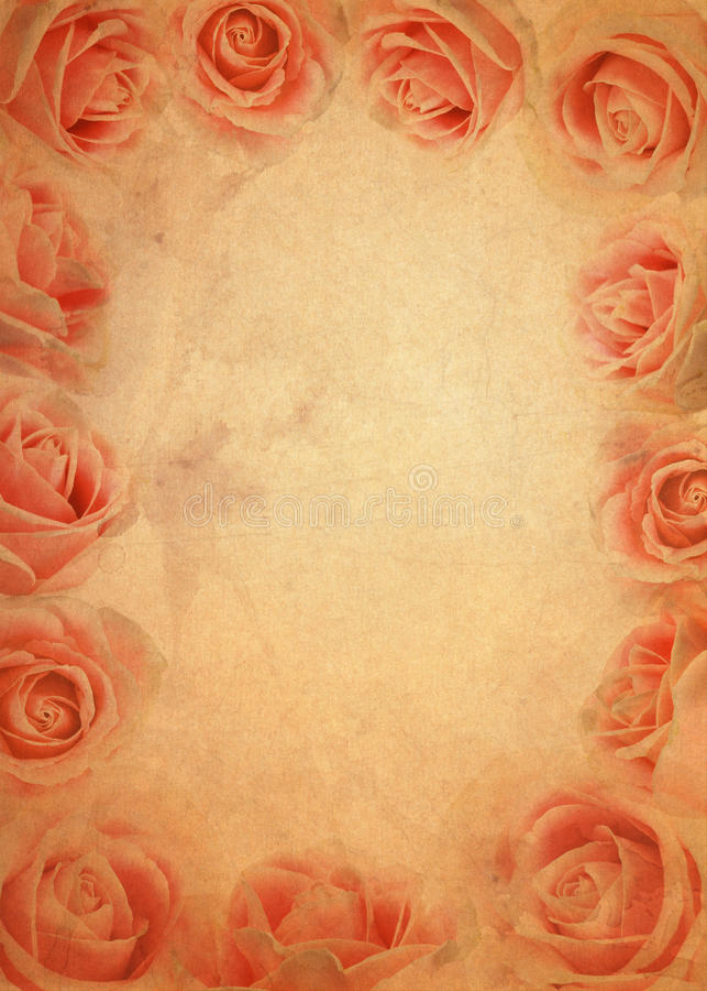 Pink rose grunge paper background. Old brown pink rose grunge paper background royalty free illustration