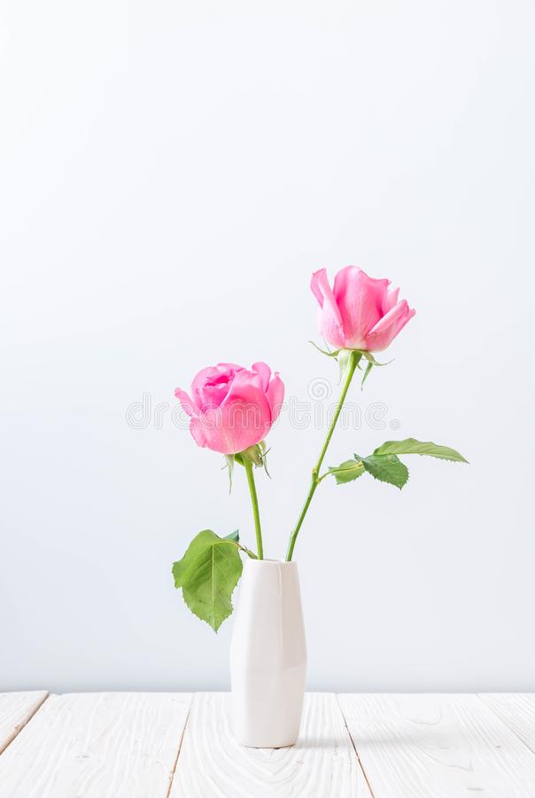 Free Pink Rose In Vase On Wood Background Stock Images - 115346064