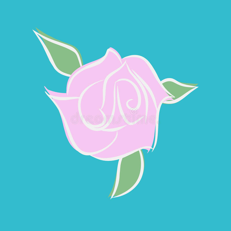 Pink rose isolated. Flower and green leaves on white background.  vector illustration