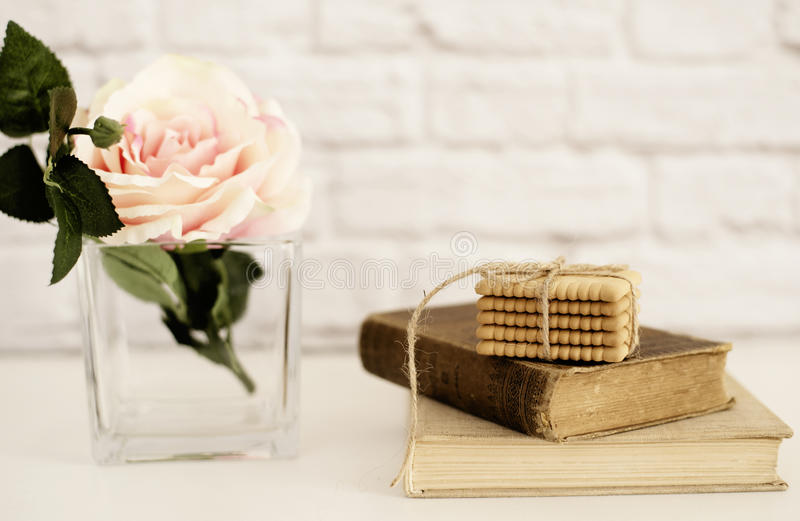 Pink Rose Mock Up. Old Books and Cookies. Styled Stock Photography. Floral Styled Wall Mockup, Valentine Mother Day Holiday stock photos