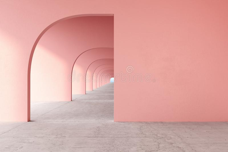 Pink, rose quartz color architectural corridor with empty wall, concrete floor, horizon line. royalty free stock image