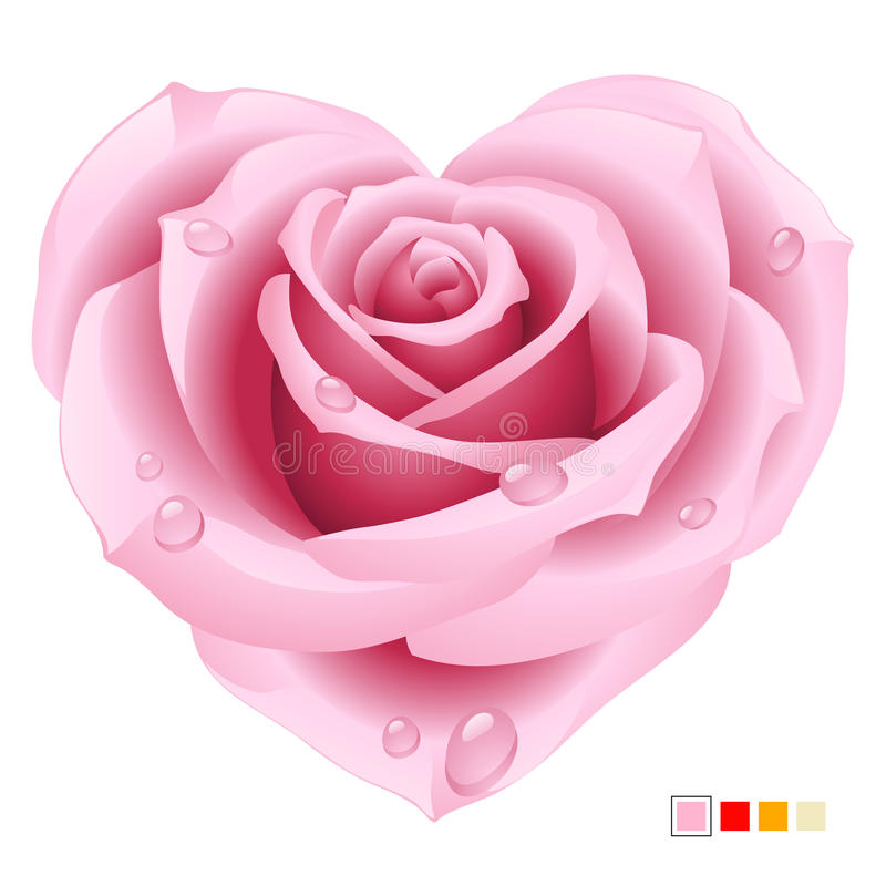 Download Pink Rose In The Shape Of Heart Stock Vector - Illustration of pink, clipart: 12792347