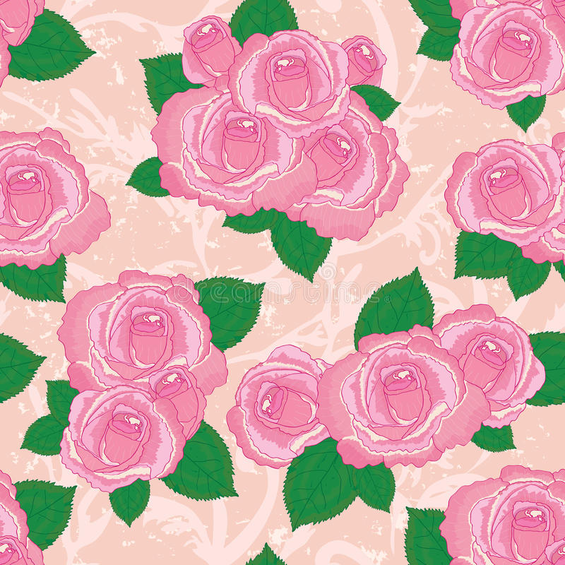 Pink rose vintage seamless pattern royalty free illustration
