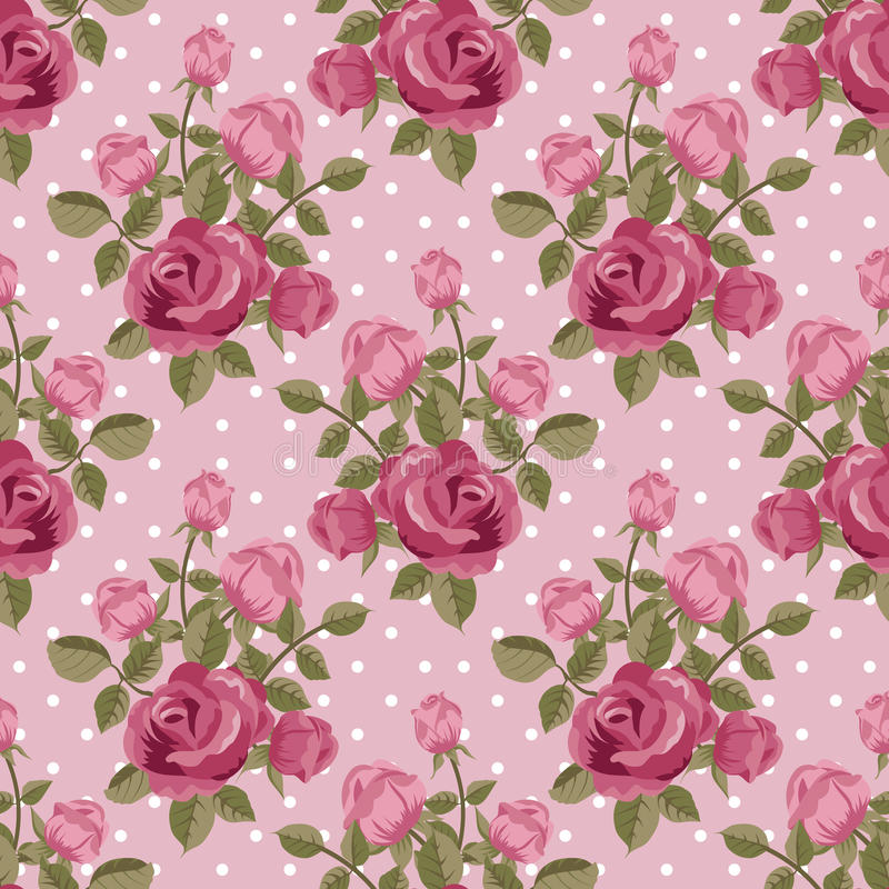 Pink Rose Wallpaper Stock Vector Illustration Of Polka
