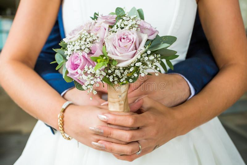 Pink Rose Wedding Bouquet stock images