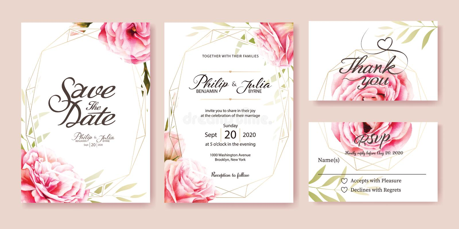 Pink rose wedding Invitation. Watercolor style. Vector. stock illustration