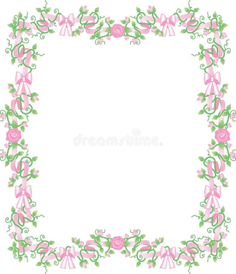 Pink rosebud border. Pretty pink ribbons, bows and rosebuds border royalty free illustration