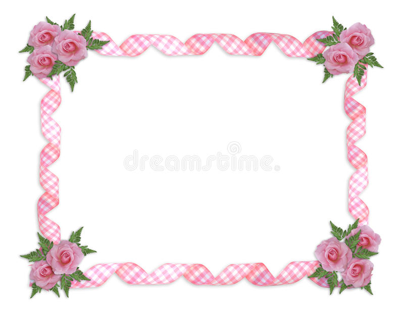 Pink roses border royalty free illustration