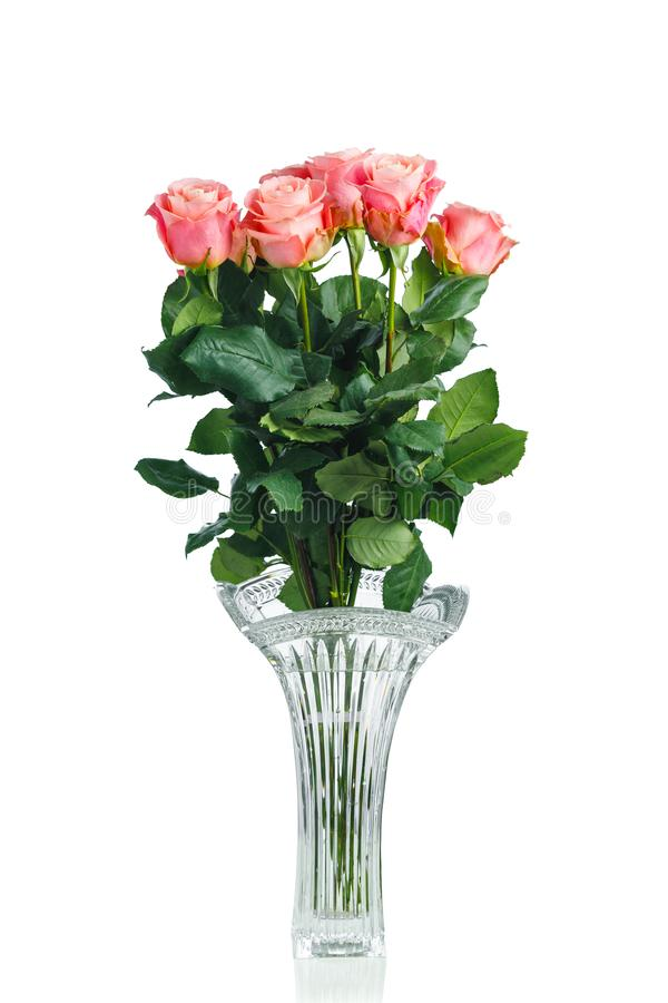 Pink roses bouquet in crystal vase on white stock images