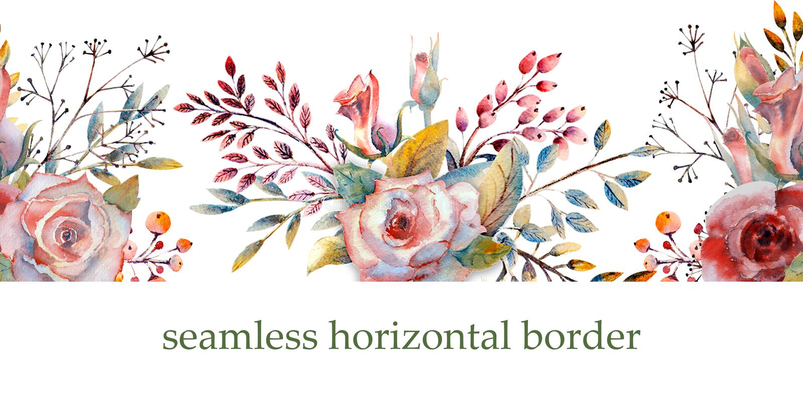 Pink roses, buds, leaves. Repeating summer horizontal border. Floral watercolor. Watercolor compositions for the design of. Greeting cards or invitations vector illustration