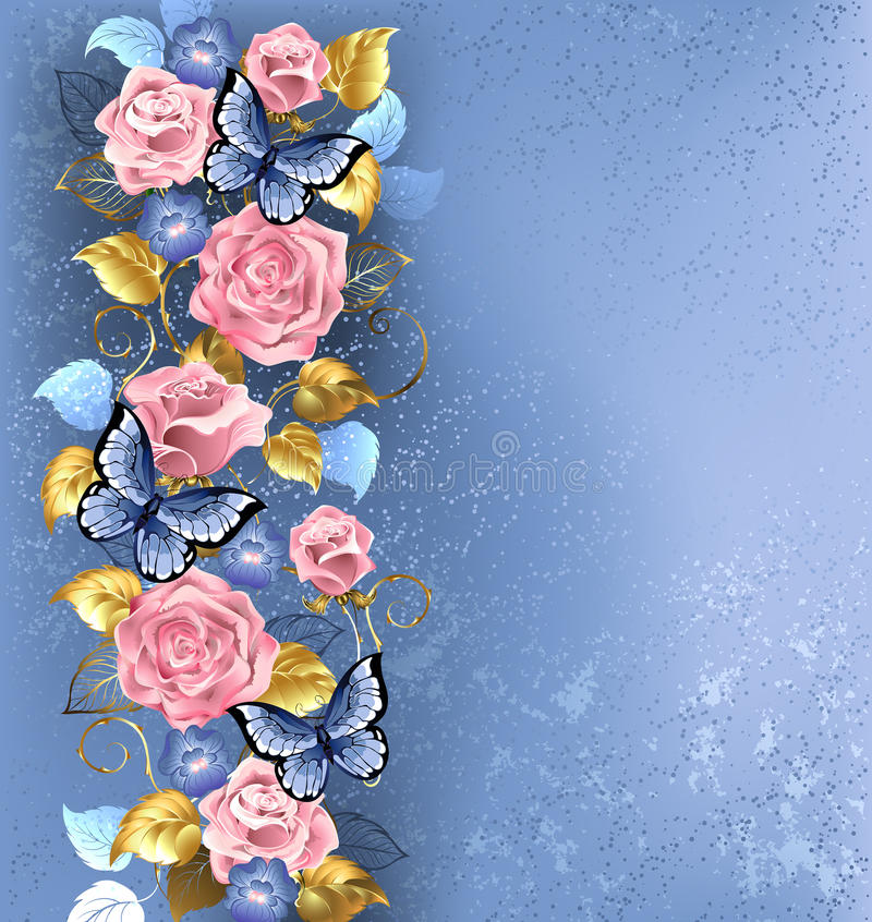 Pink roses and butterflies royalty free illustration