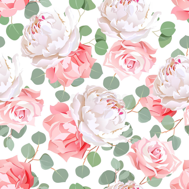 Pink roses, carnation, peony and eucaliptus leaves seamless vector pattern stock illustration