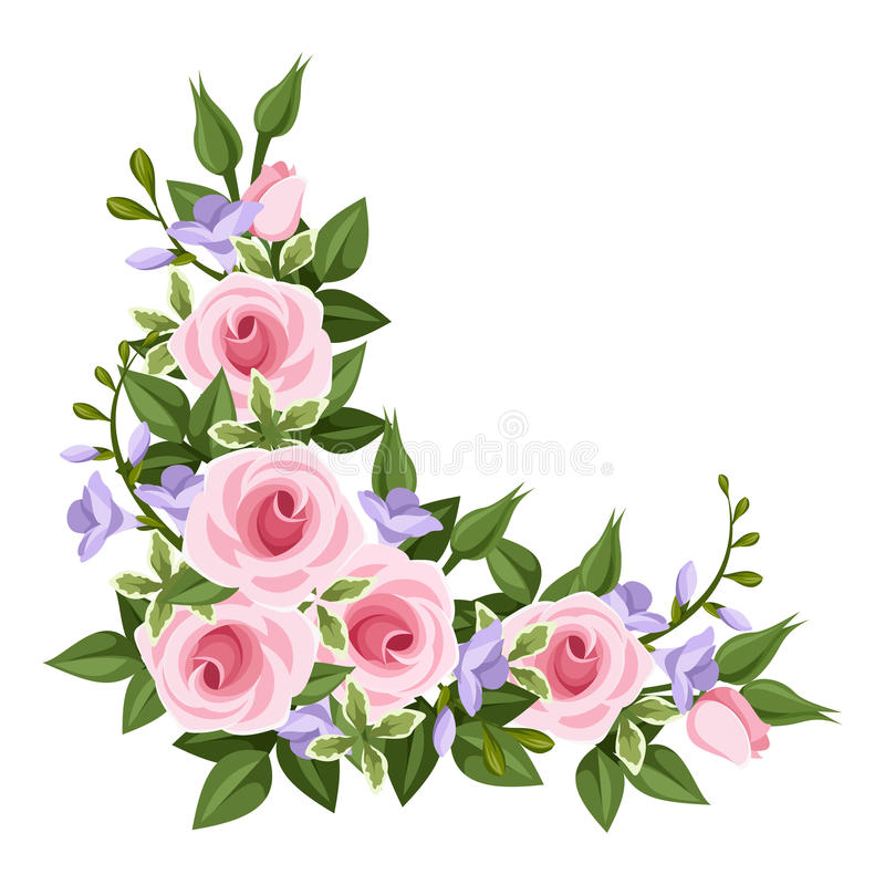 Pink roses corner. Corner with pink roses, purple freesia and leaves on a white background stock illustration