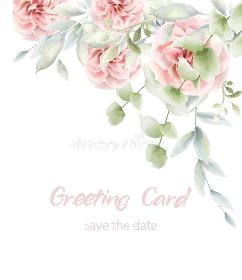 Pink roses floral card Vector watercolor. Provence rustic poster. Birthday invitation, ceremony event greeting decors. Pink roses floral card Vector watercolor royalty free illustration