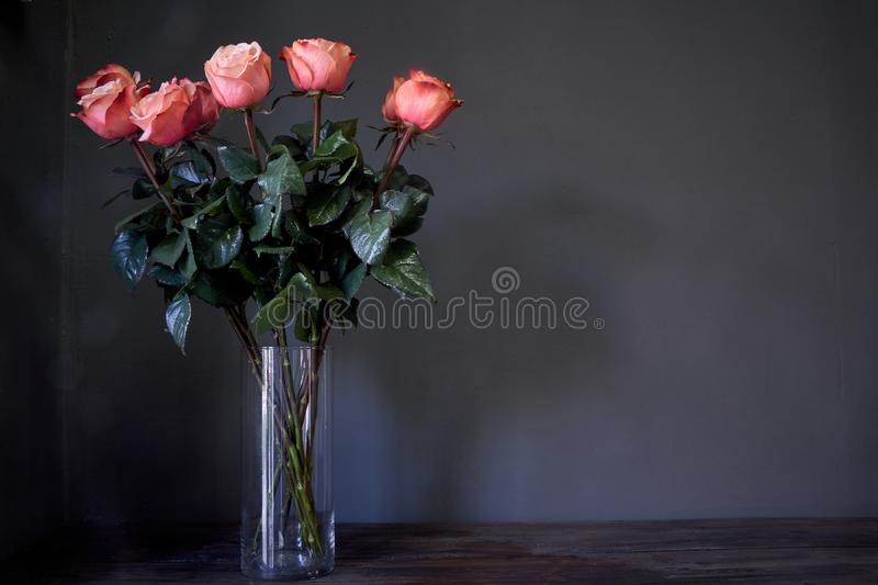 Pink roses flower bouquet in a clear tall crystal vase against a gray wall, selective focus. Pink roses flower bouquet in clear tall crystal vase against a gray stock images