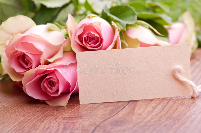Pink Roses And Gift Card Stock Image. Image Of Background