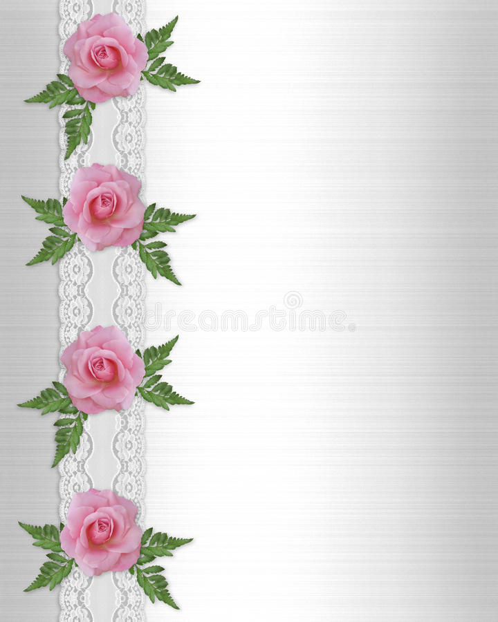 Pink roses and lace border vector illustration