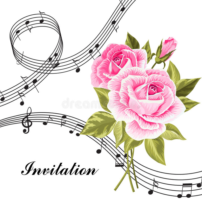 Pink Roses With Music Notes. Stock Vector
