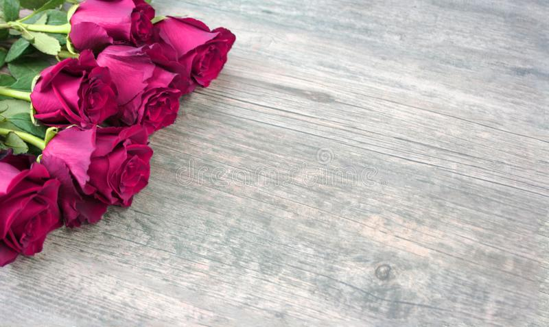 Pink Roses Over Rustic Wooden Background stock photo