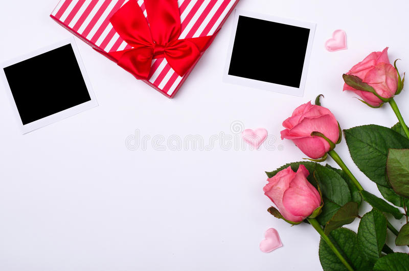Pink roses, photos and free space for your text. Romantic background: Birthday, Valentine& x27;s day, wedding stock photos