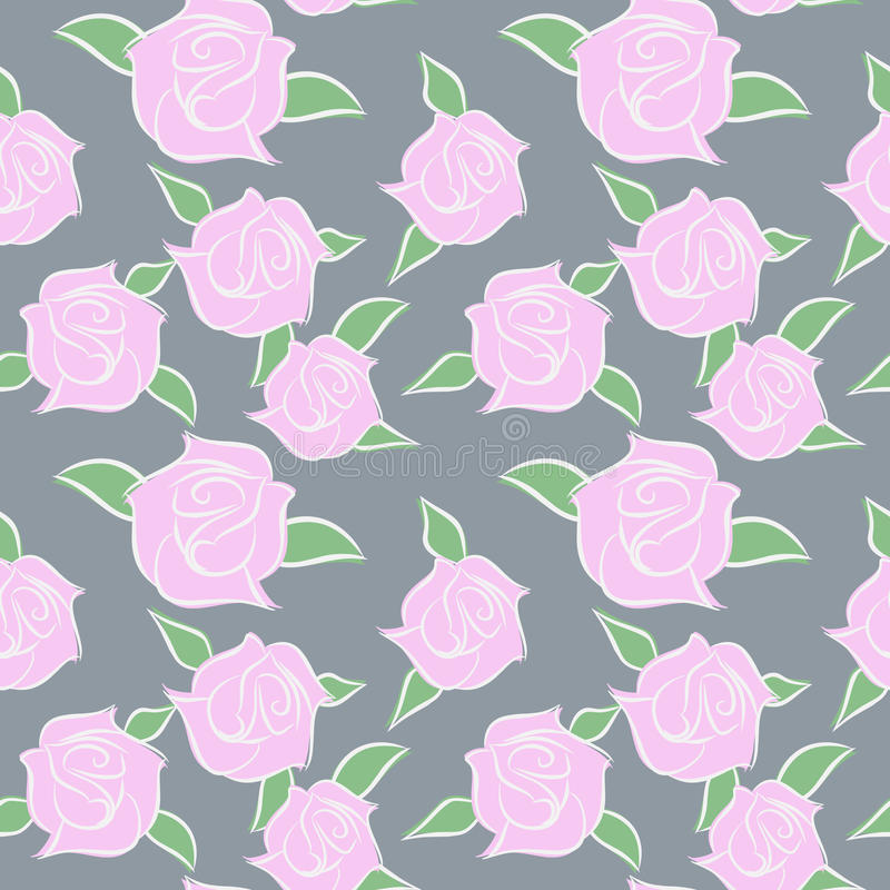 Pink Roses seamless patern. Flowers in pastel colours. Vector fl royalty free illustration
