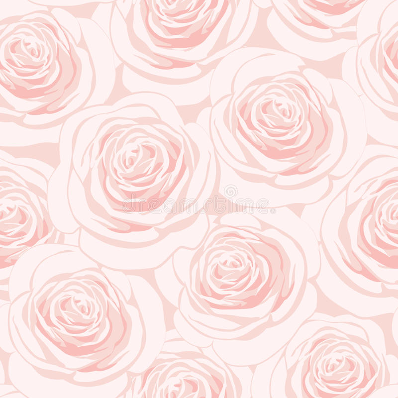 Pink roses seamless pattern stock illustration