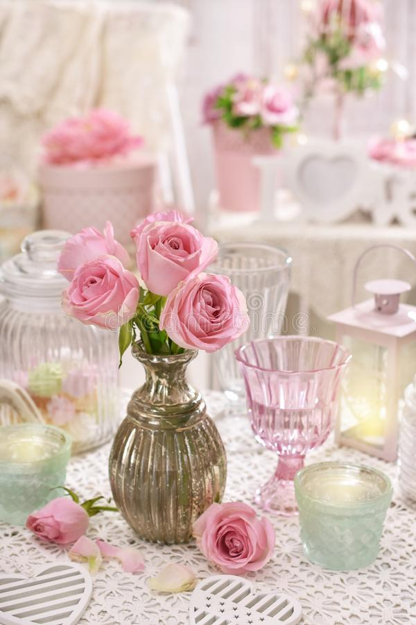 Pink Roses In Vase On The Table In Shabby Chic Style Interior Stock ...