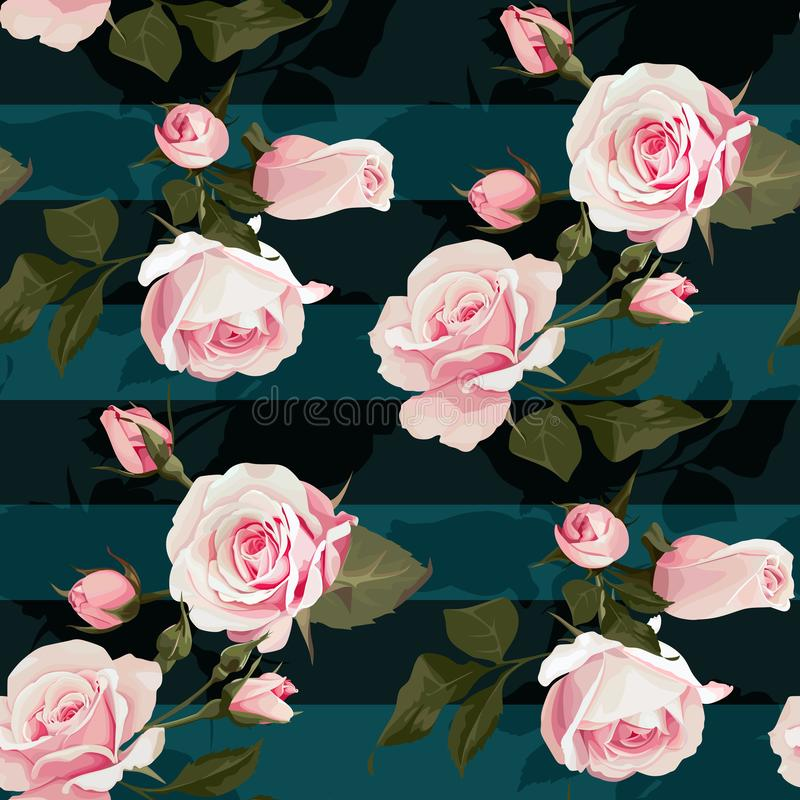 Pink roses vector seamles pattern. Realistic flowers on stripes background, floral texture. S royalty free illustration