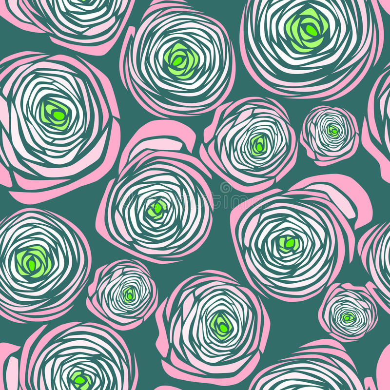 Pink roses. Vector pink roses seamless pattern stock illustration
