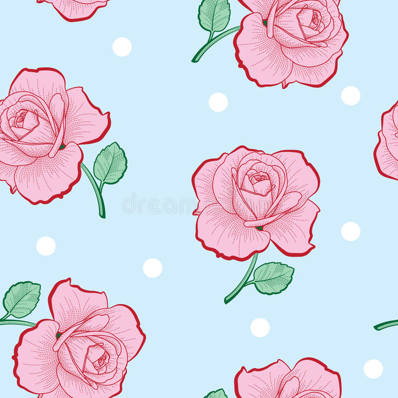 Pink roses and white dots seamless pattern stock illustration