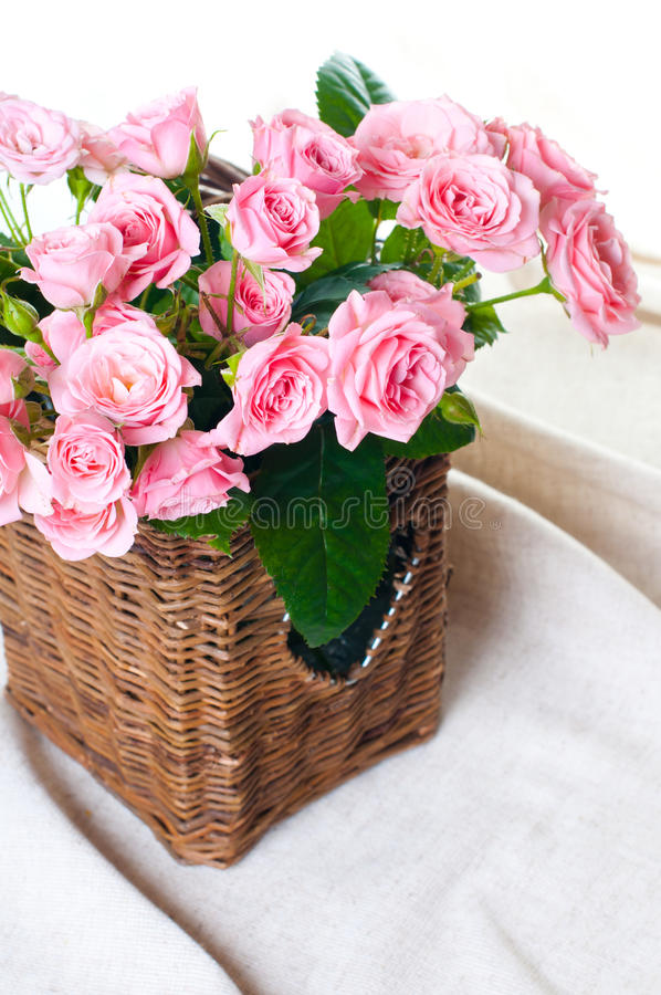 Download Pink Roses In A Wicker Basket And Linen Fabric Stock Photo - Image of beautiful, bouquet: 23940822