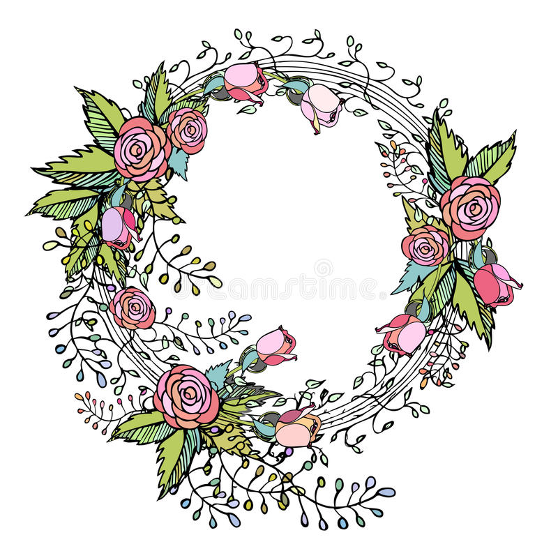 Pink roses on wreath in pretty hand drawn flower arrangement design download pink roses on wreath in pretty hand drawn flower arrangement design stock vector illustration mightylinksfo