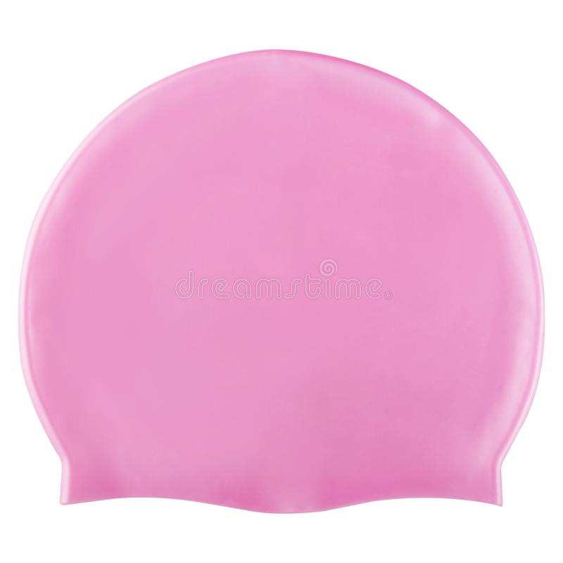 Pink rubber swimming cap in the pool or in open water, on a white background, isolate. Pink rubber swimming cap in the pool or in open water, on a white royalty free stock photography