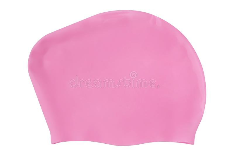 Pink rubber women`s swimming cap, on a white background, isolate. Pink rubber women`s swimming cap, on a white background stock photo