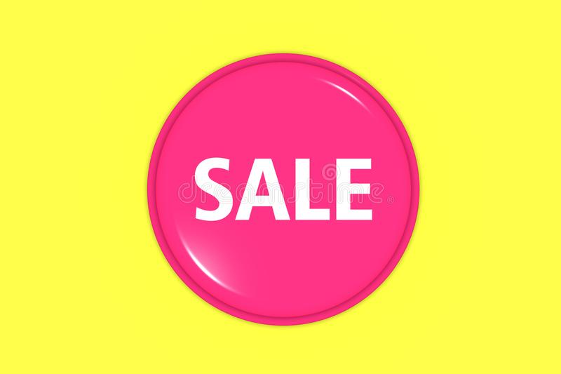 Pink sale sign or sticker isolated on yellow background. royalty free stock photo