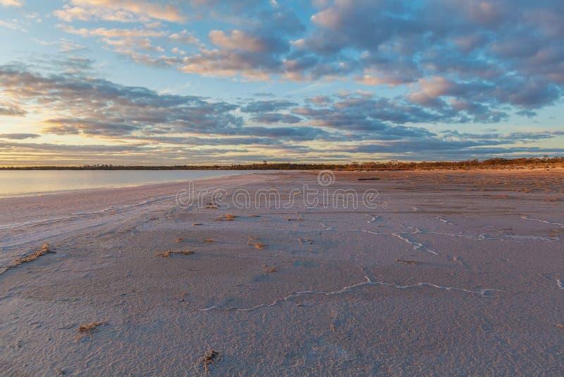 Pink salt Lake Crossbie at Sunset royalty free stock image