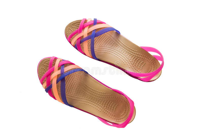 Pink Sandals isolated royalty free stock image