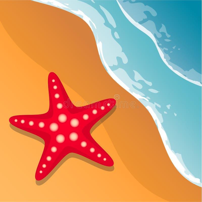pink scallop seashell 在海岸视图之上 波浪和沙子 海星 蓝色云彩图象彩虹天空向量 库存例证