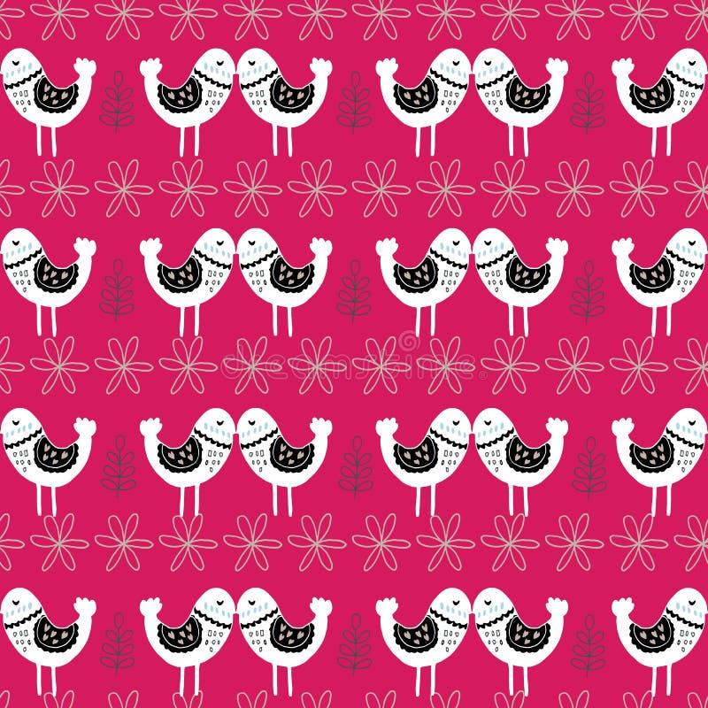 Pink Scandinavian Love Birds Pattern Design royalty free illustration
