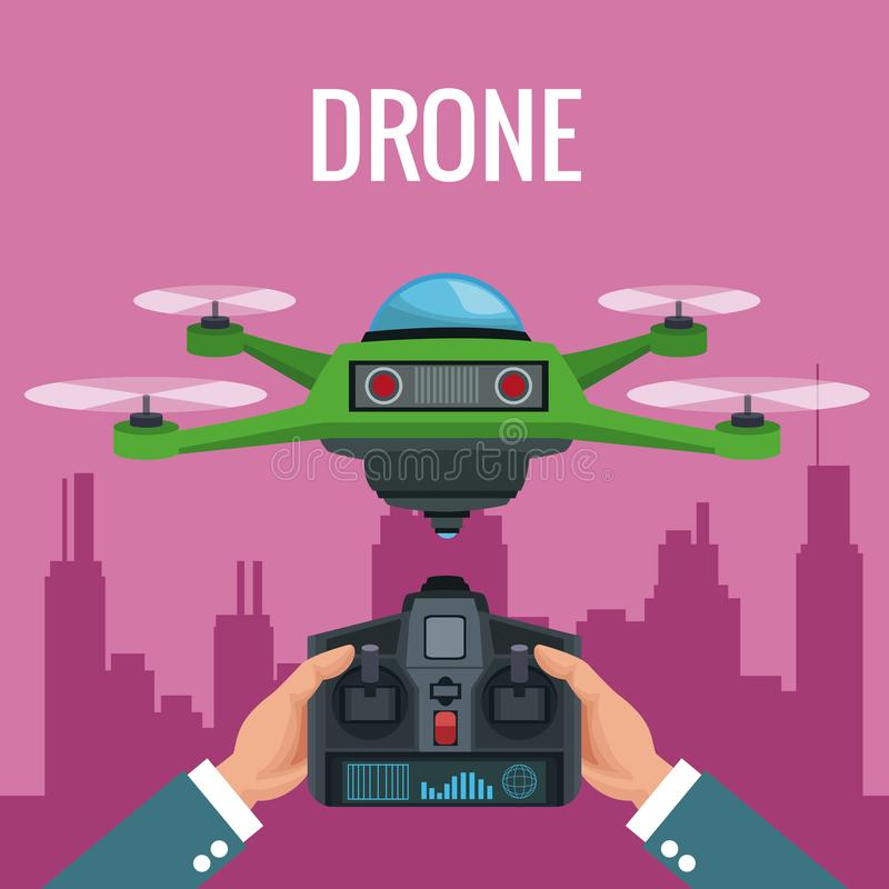 Pink scene city landscape and people handle remote control with green robot drone with four airscrew. Vector illustration royalty free illustration
