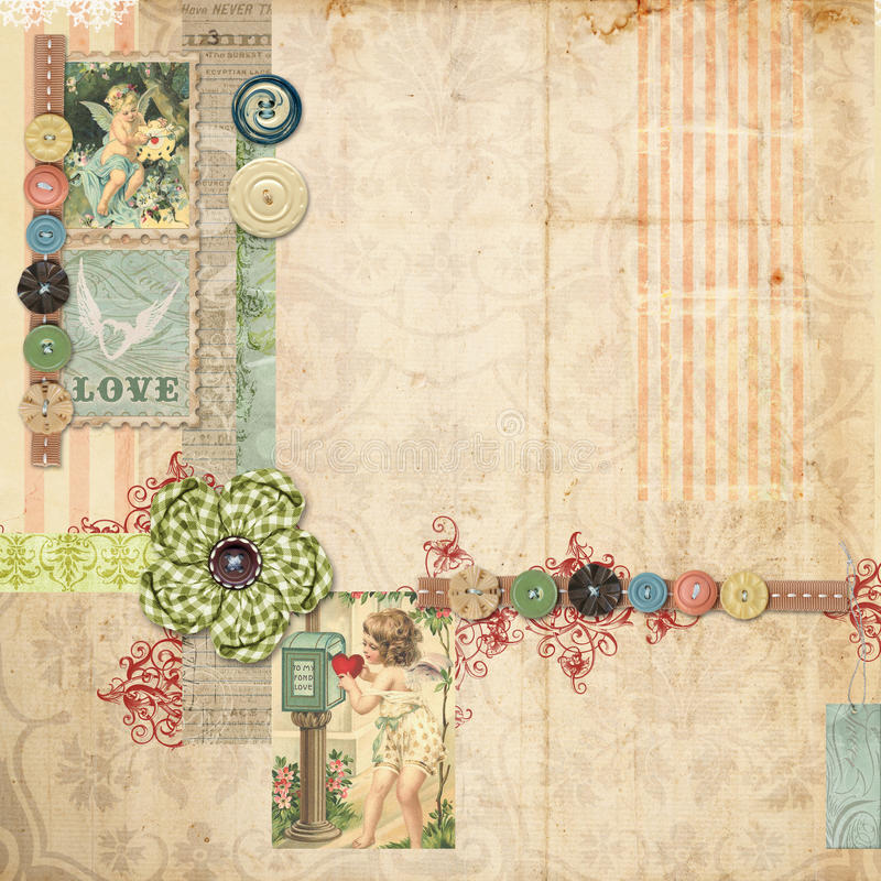 Pink Scrapbook layout with vintage embellishments stock photos