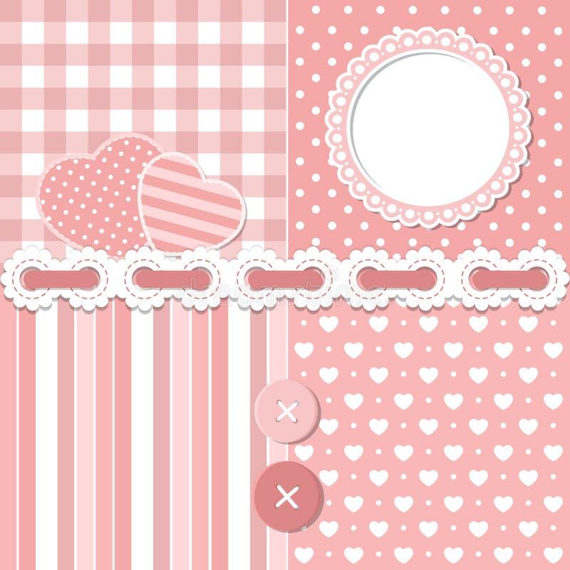 Pink Scrapbook Set Stock Vector Illustration Of Button 28263606