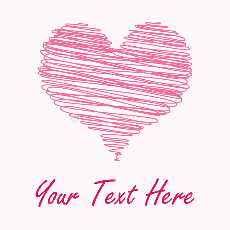 Pink Scribbled Heart Card Royalty Free Stock Photography