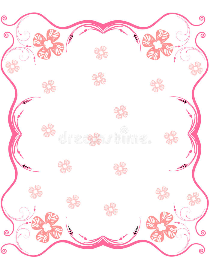 Free Pink Scroll Frame With Flowers Stock Photography - 22528812