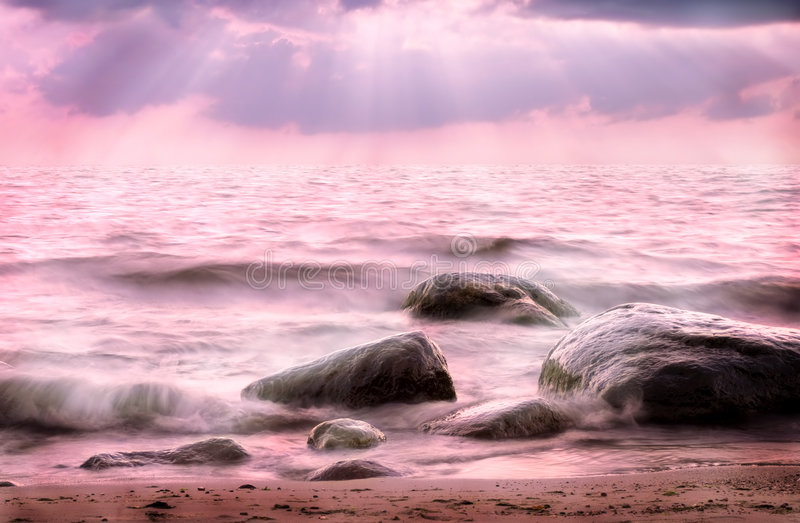 Download Pink Sea stock photo. Image of clouds, paradise, close, calm - 49184