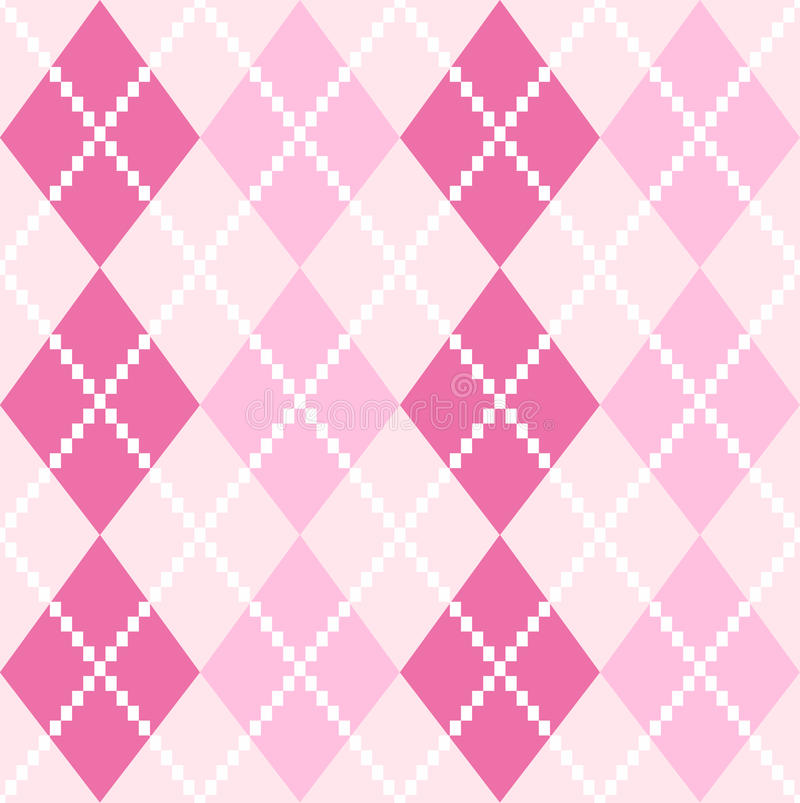 Pink seamless Argyle Pattern for Valentines day stock illustration